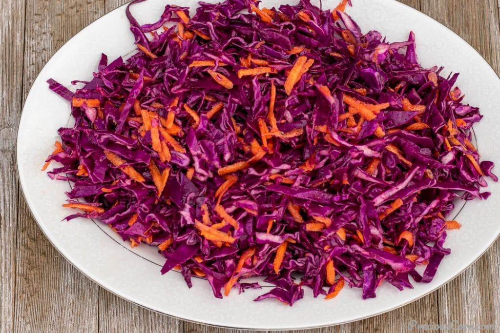 Cabbage slaw on a serving platter