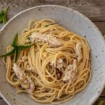 easy chicken spaghetti in a bowl
