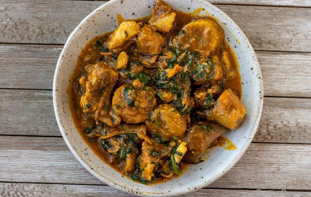 bowl of unripe plantain porridge