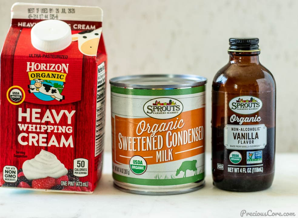 heavy whipping cream, sweetened condensed milk and vanilla extract for making vanilla ice cream