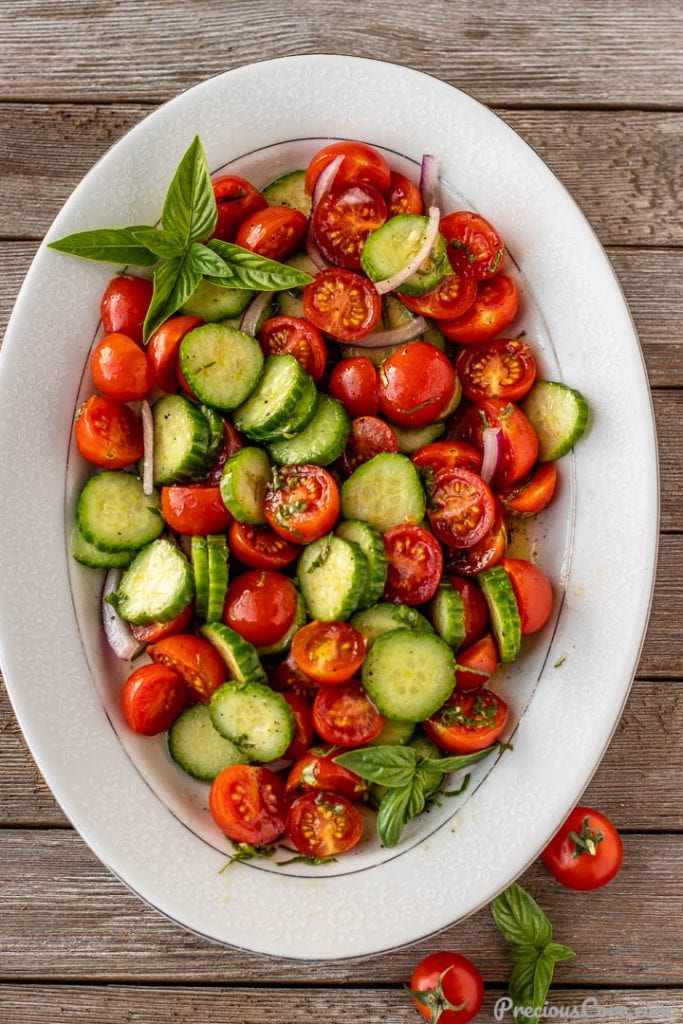 tossed cucumber tomato onion salad