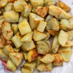 roasted potatoes on a platter