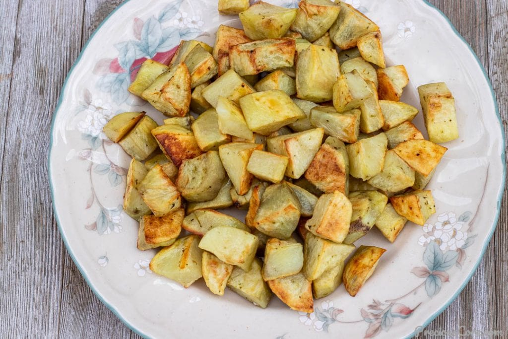 oven roasted potatoes on a serving platter
