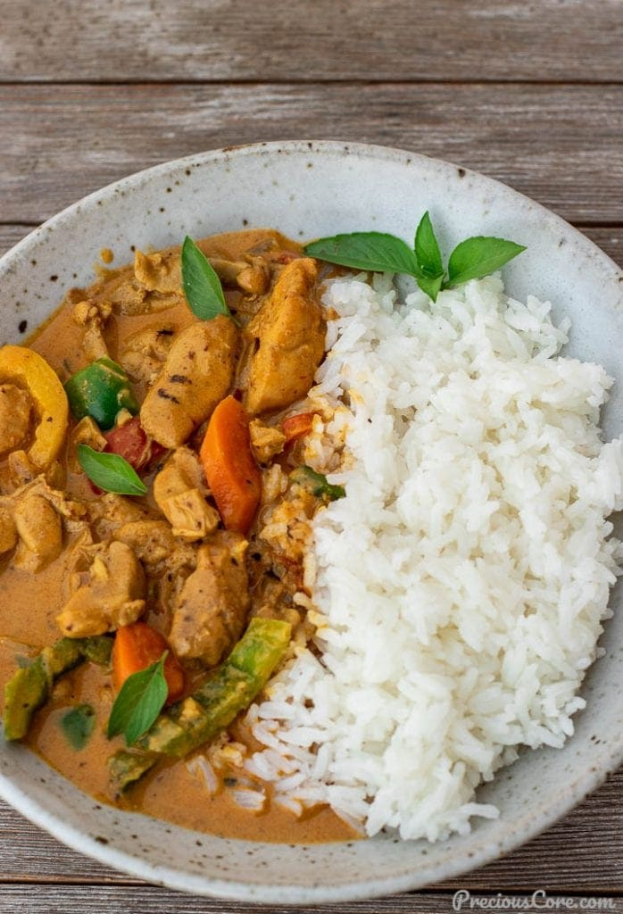 coconut curry chicken and rice in a bowl