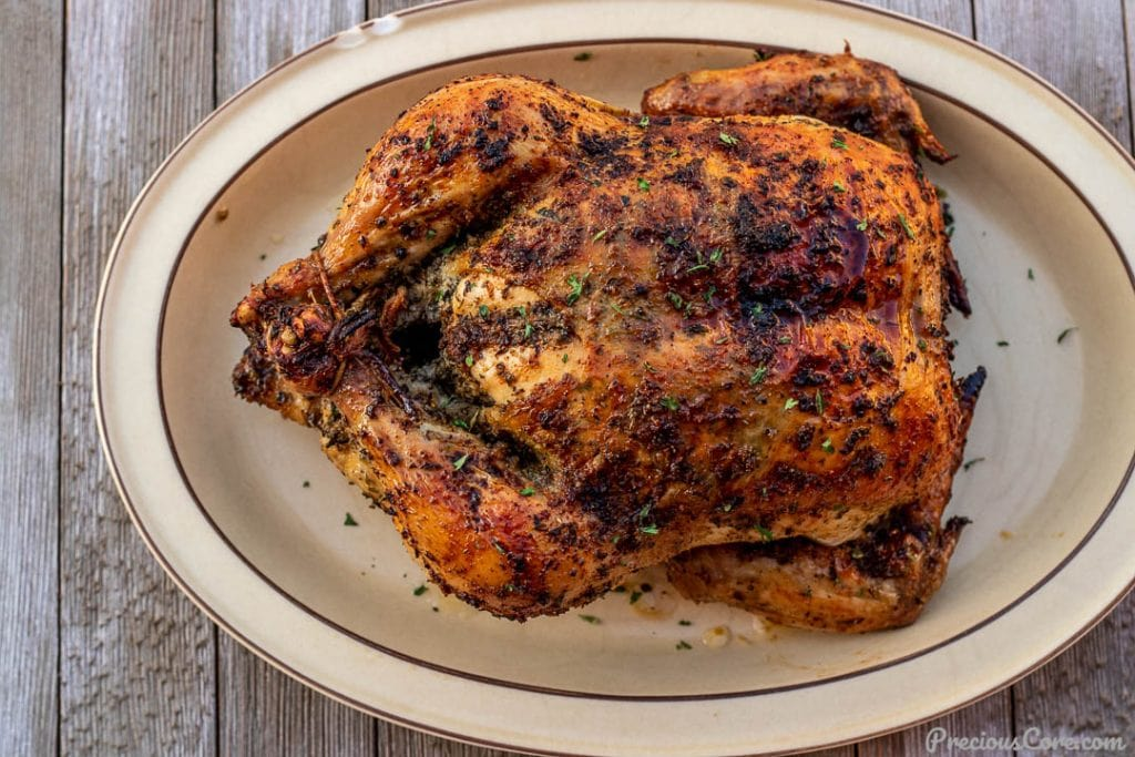 Roast chicken on a platter