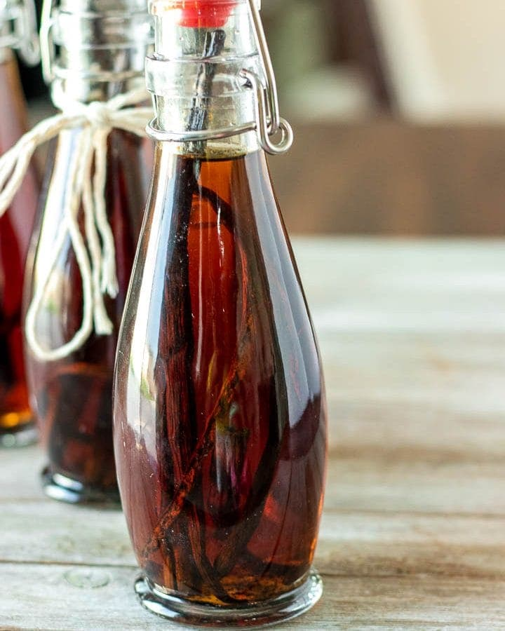 Homemade vanilla extract in bottles