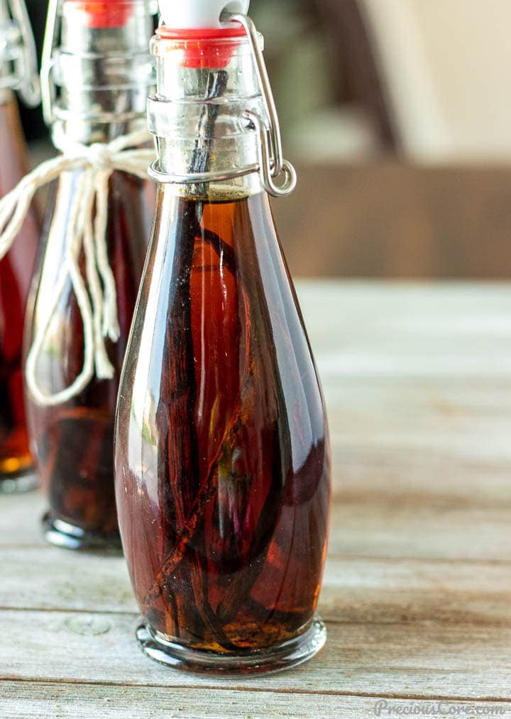 Homemade vanilla extract in bottles