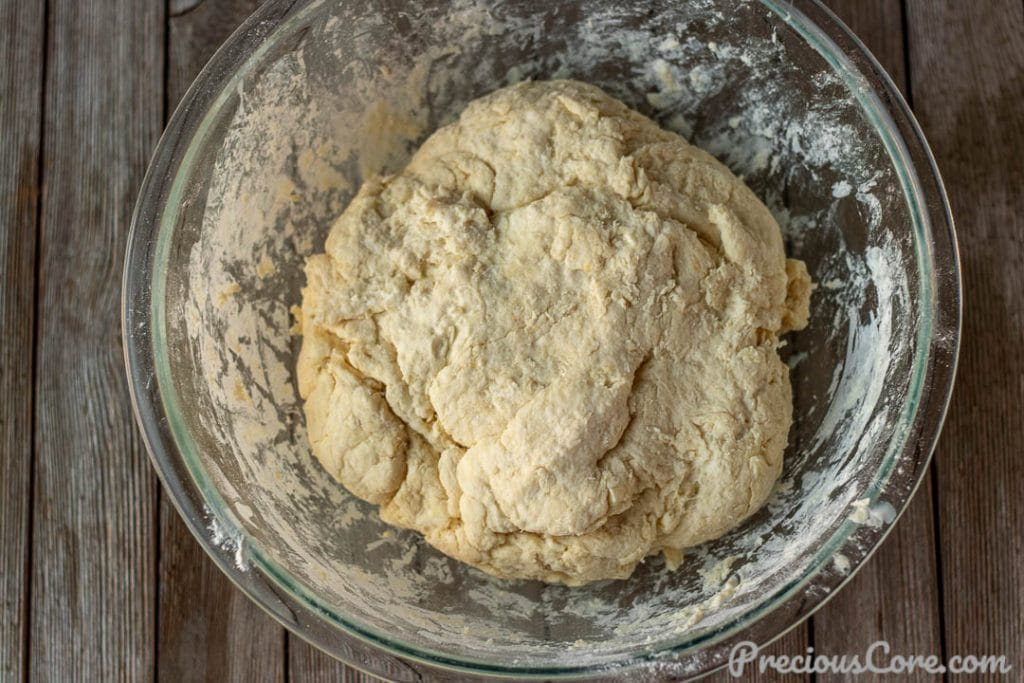 Homemade biscuit dough in a bowl