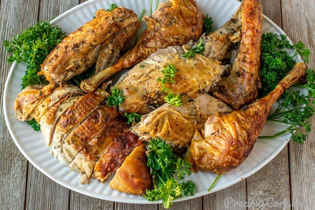 Landscape image of carved turkey on platter