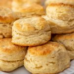 Stacked Buttermilk Biscuits on platter