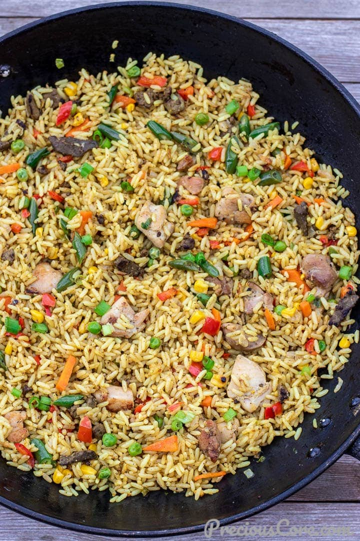 Wok filled with African Fried Rice
