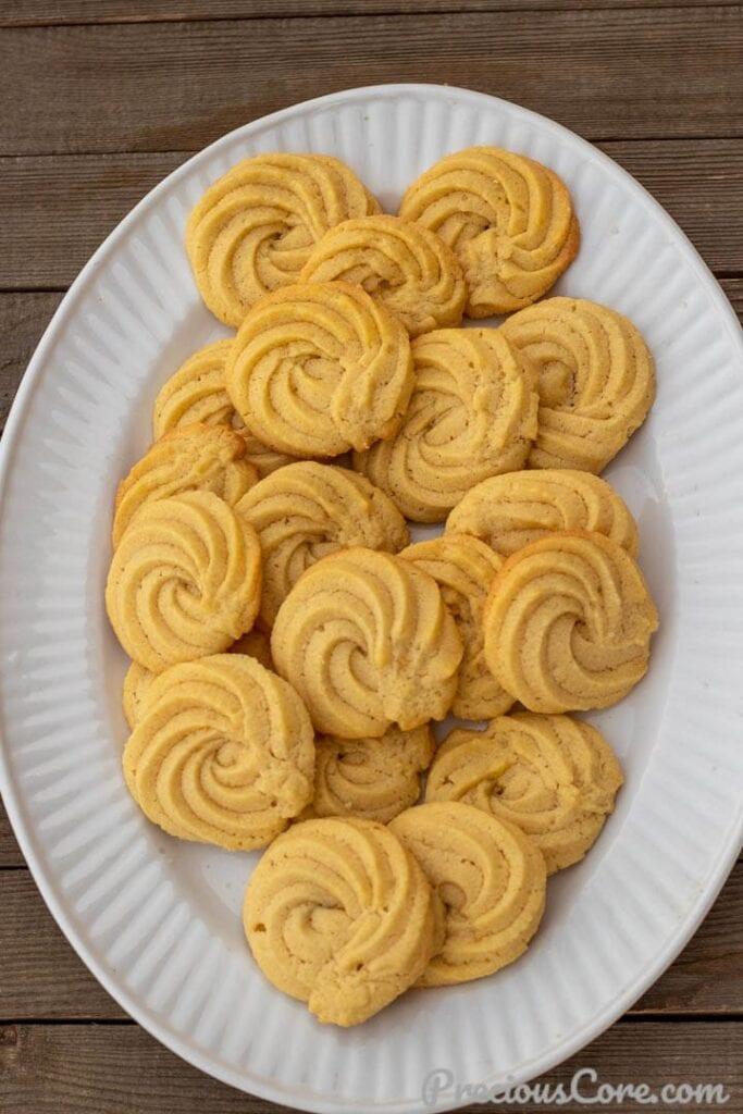 Danish Butter Cookies on a serving platter