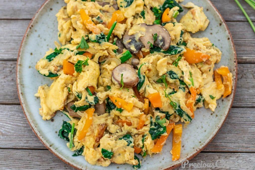 Landscape picture of scrambled eggs