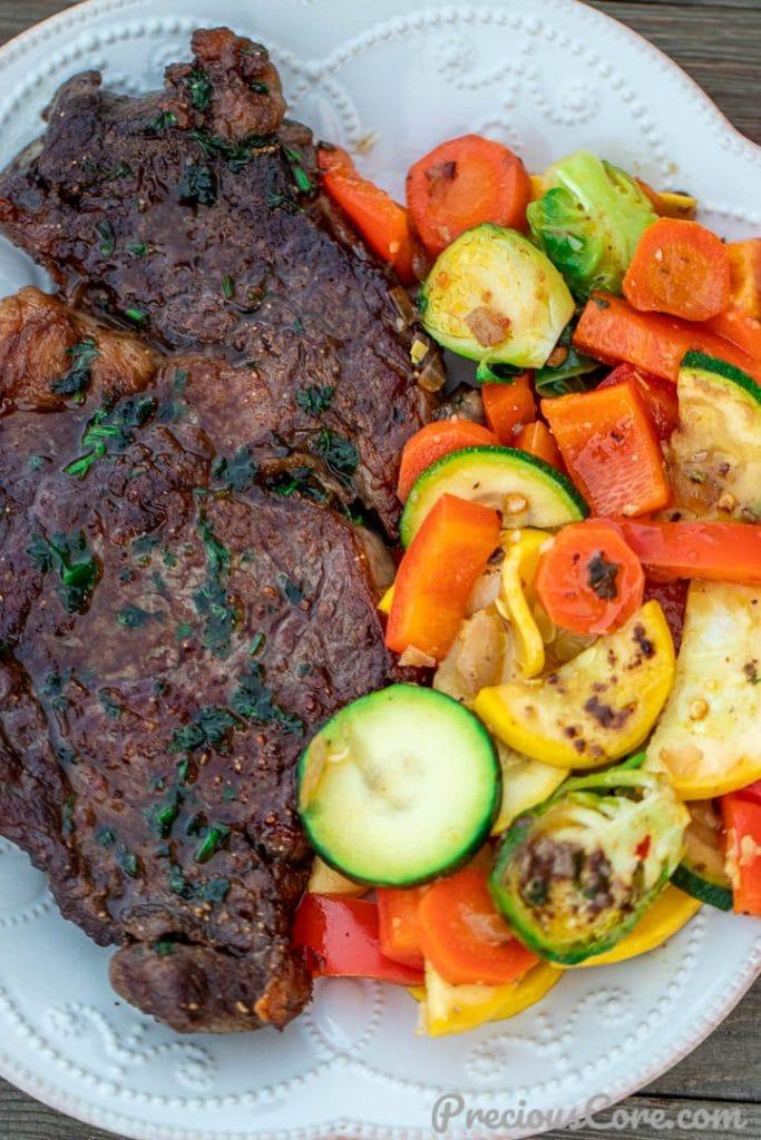 Pan grilled steak and sauteed veggies