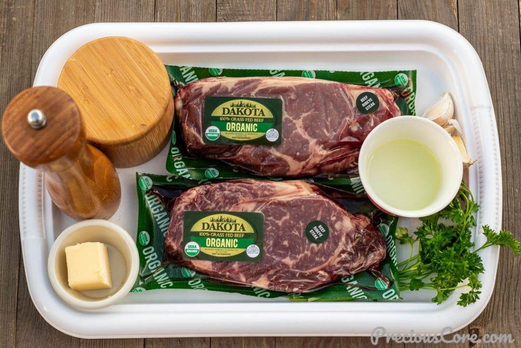 Ingredients for pan seared steak